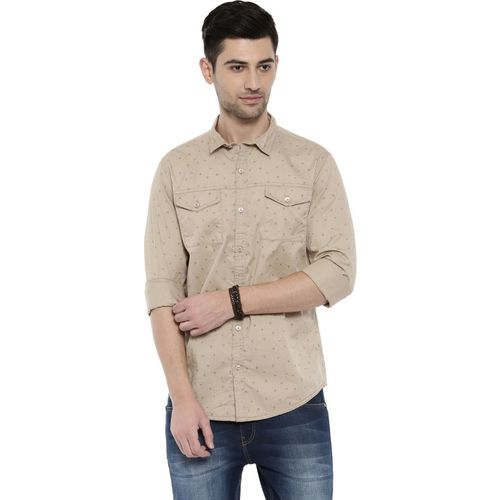 Breakbounce Men Printed Casual Beige Shirt