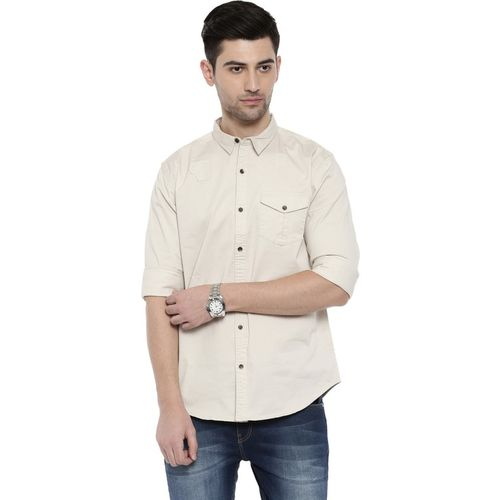 Breakbounce Men Solid Casual Beige Shirt
