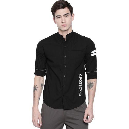 Breakbounce Men Solid Casual Black Shirt