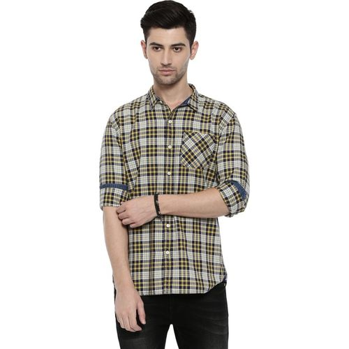 Breakbounce Men Checkered Casual Yellow, White, Black Shirt