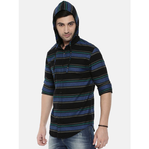 Breakbounce Black & Blue Slim Fit Striped Casual Hooded Shirt