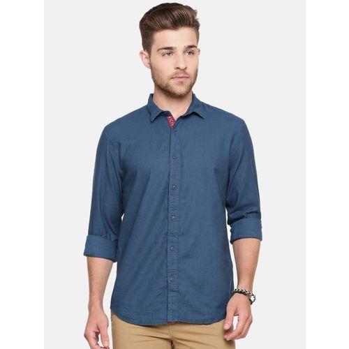 Breakbounce Men Solid Casual Blue Shirt