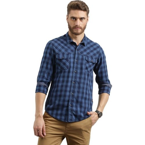 Breakbounce Men Checkered Casual Blue Shirt
