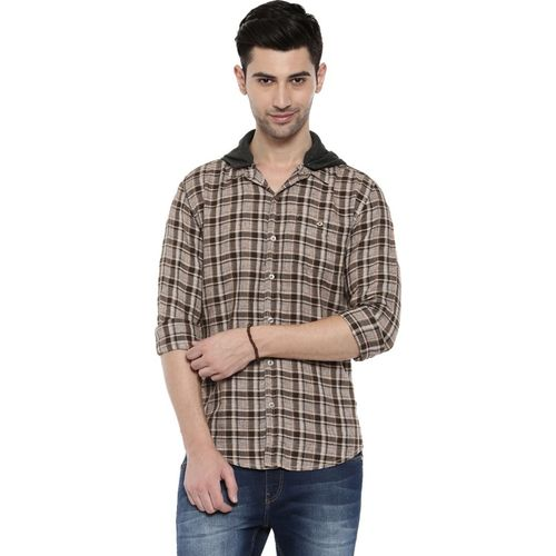 Breakbounce Men Checkered Casual Brown Shirt