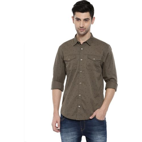 Breakbounce Men Printed Casual Brown Shirt