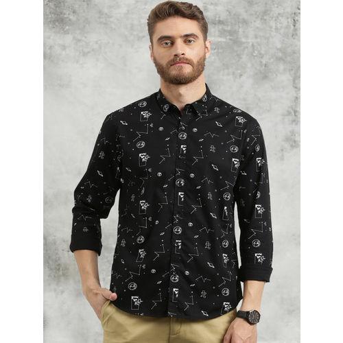 Breakbounce Men Black Slim Fit Printed Casual Shirt
