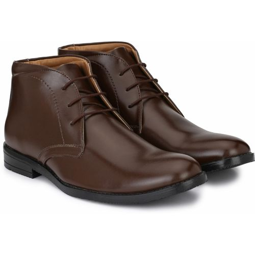 Hirel's Brown polyurethane Lace-Up High Ankle Formal Shoes