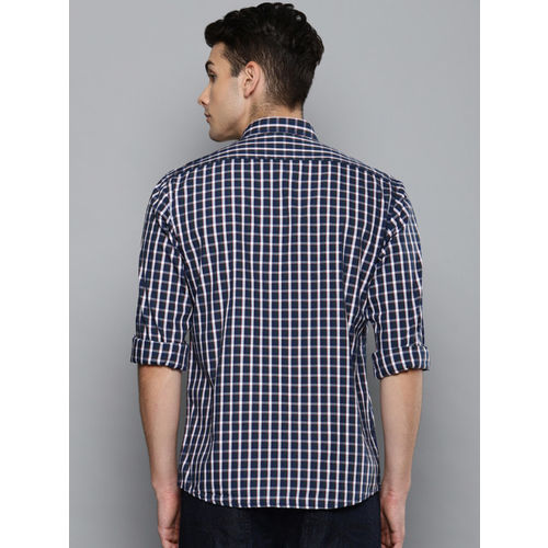 Louis Philippe Sport Men Navy & White Slim Fit Checked Casual Shirt
