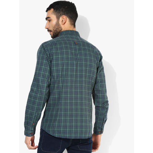 Louis Philippe Sport Navy Blue Checked Slim Fit Casual Shirt