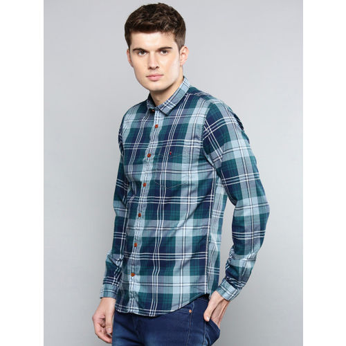 Louis Philippe Sport Men Navy Blue Super-Slim Fit Checked Casual Shirt