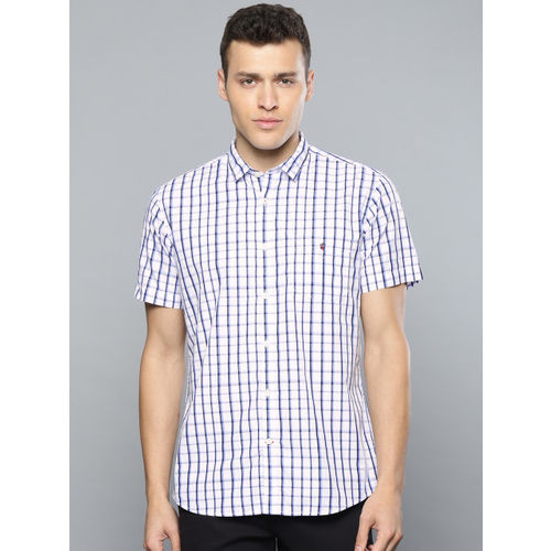 Louis Philippe Sport Men White & Blue Slim Fit Checked Casual Shirt