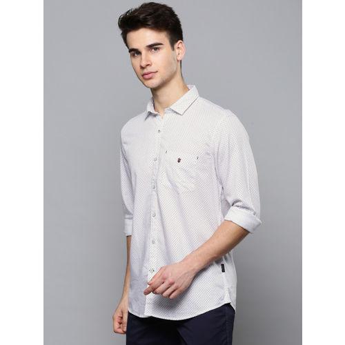 Louis Philippe Sport Men White Slim Fit Printed Casual Shirt