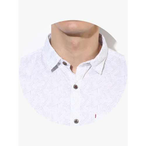 Louis Philippe Sport White Printed Slim Fit Casual Shirt