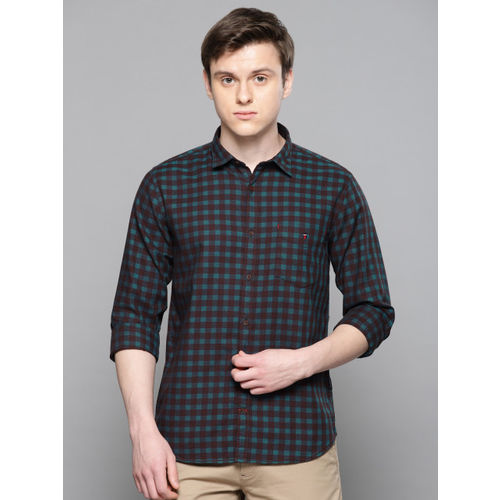 Louis Philippe Sport Men Brown & Teal Blue Slim Fit Checked Casual Shirt
