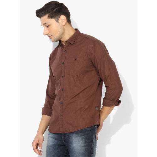 Louis Philippe Sport Brown Checked Slim Fit Casual Shirt