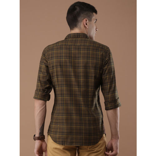 Louis Philippe Sport Men Brown & Yellow Super Slim Fit Checked Casual Shirt