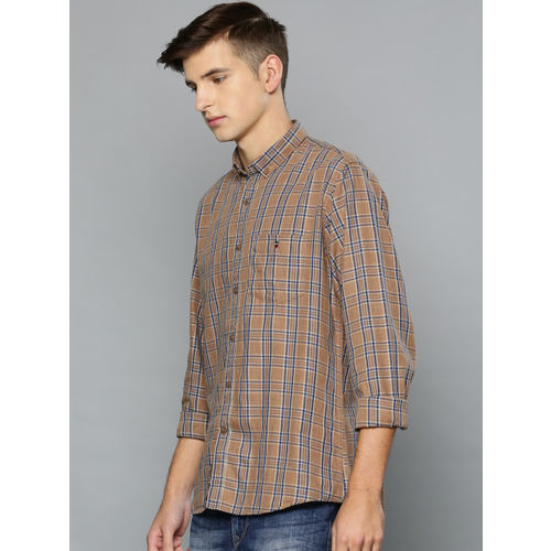 Louis Philippe Sport Men Brown & Navy Blue Slim Fit Checked Casual Shirt