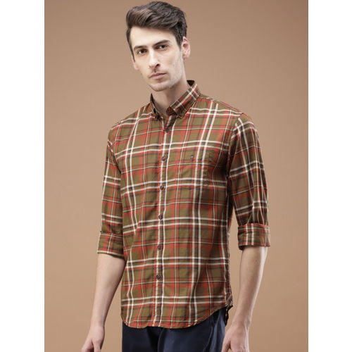 Louis Philippe Sport Men Brown & Red Super Slim Fit Checked Casual Shirt
