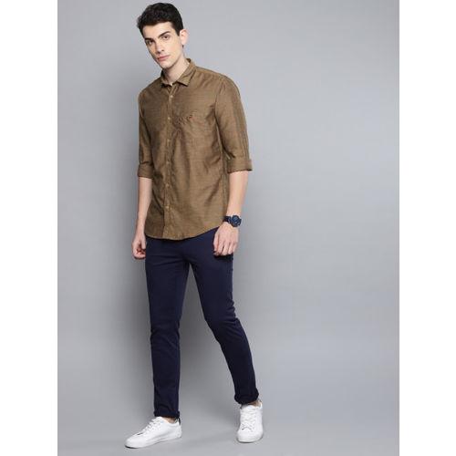Louis Philippe Sport Men Brown Slim Fit Self-Design Casual Shirt