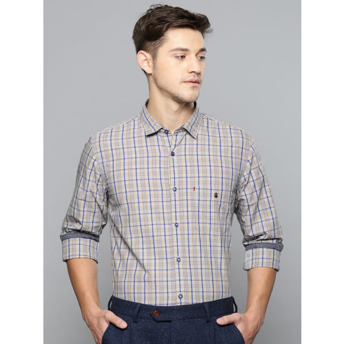 Louis Philippe Sport Men Grey & Blue Super Slim Fit Checked Smart Casual Shirt