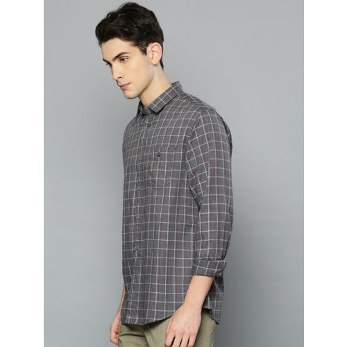 Louis Philippe Sport Men Grey & Red Slim Fit Checked Casual Shirt