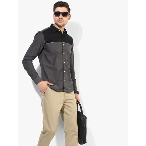 Louis Philippe Sport Dark Grey Solid Slim Fit Casual Shirt