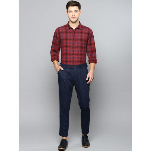 Louis Philippe Sport Men Red & Blue Super Slim Fit Checked Smart Casual Shirt