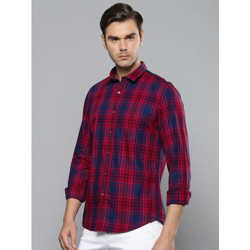 Louis Philippe Sport Men Red & Navy Blue Slim Fit Checked Casual Shirt