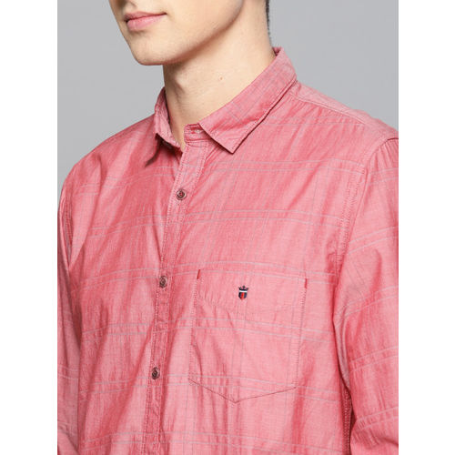 Louis Philippe Sport Men Red Super Slim Fit Checked Casual Shirt