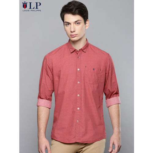 Louis Philippe Sport Men Red Slim Fit Printed Casual Shirt
