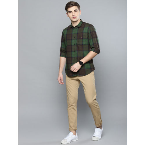 Louis Philippe Sport Men Olive Green & Brown Super Slim Fit Checked Casual Shirt