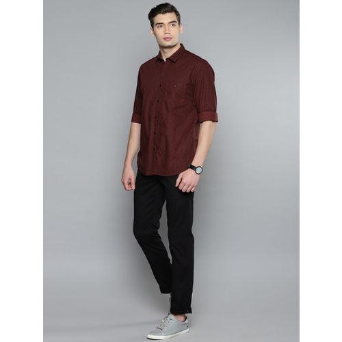 Louis Philippe Sport Men Maroon Slim Fit Printed Casual Shirt