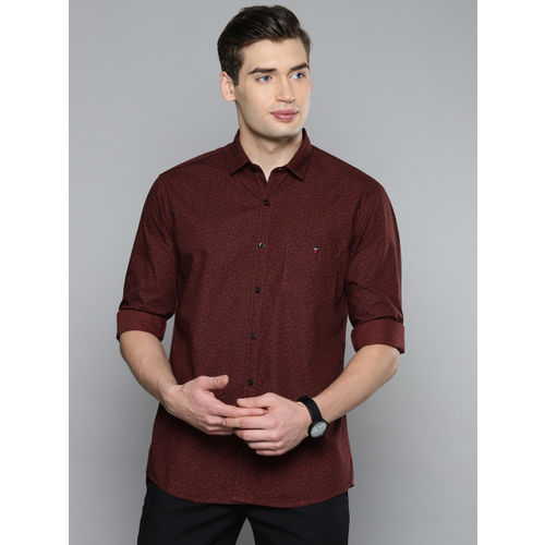 Louis Philippe Sport Men Maroon Slim Fit Printed Casual Shirt