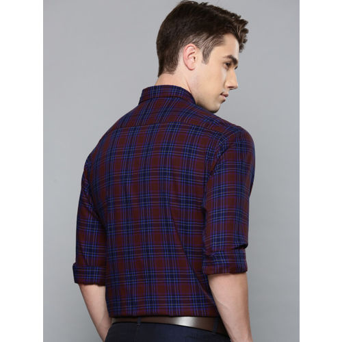 Louis Philippe Sport Men Maroon & Blue Slim Fit Checked Smart Casual Shirt