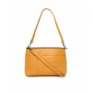 CODE by Lifestyle Mustard Yellow Synthetic Solid Shoulder Bag