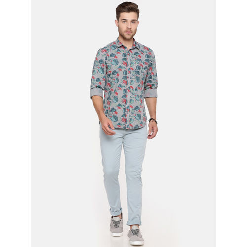 Breakbounce Men Grey & Teal Slim Fit Printed Casual Shirt