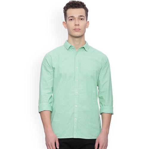 Breakbounce Men Green Slim Fit Solid Casual Shirt