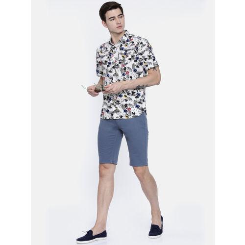 Breakbounce Men Multicoloured Regular Fit Printed Casual Linen Shirt