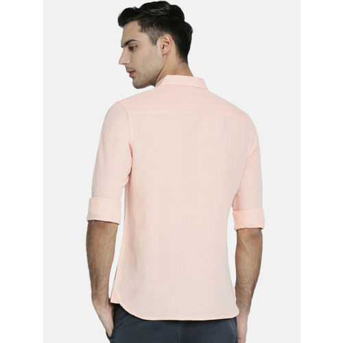 Breakbounce Men Peach-Coloured Slim Fit Solid Casual Shirt