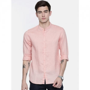 Breakbounce Men Peach-Coloured Regular Fit Solid Linen Casual Shirt