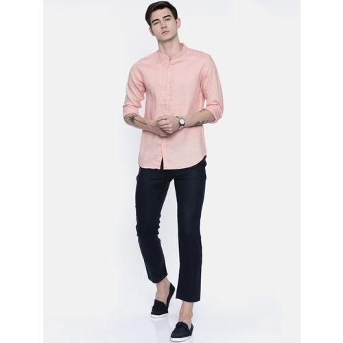 Breakbounce Men Peach-Coloured Regular Fit Solid Linen Casual Shirt