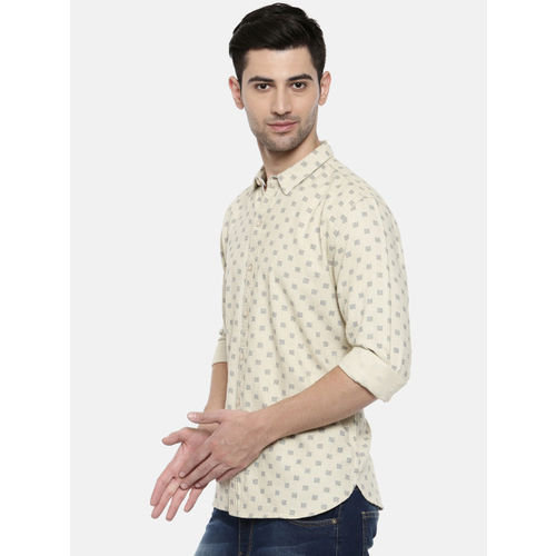 Breakbounce Men Off-White Slim Fit Printed Casual Shirt