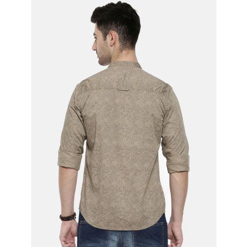 Breakbounce Men Khaki Slim Fit Printed Casual Shirt