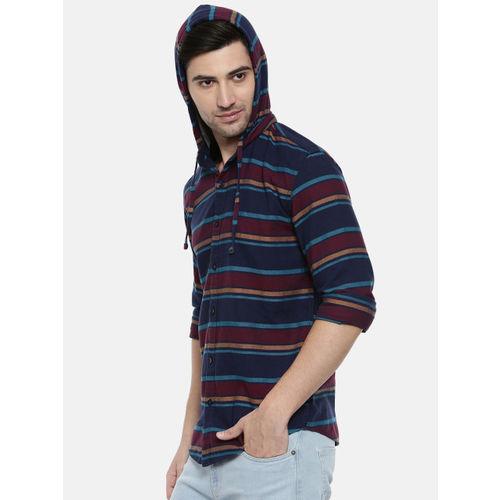 Breakbounce Men Maroon & Navy Blue Slim Fit Striped Casual Hooded Shirt