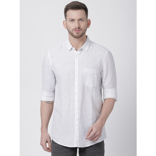 Crocodile Men White & Grey Slim Fit Striped Casual Shirt
