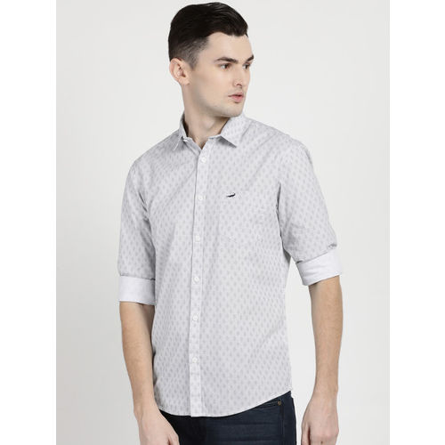Crocodile Men White & Grey Slim Fit Printed Casual Shirt