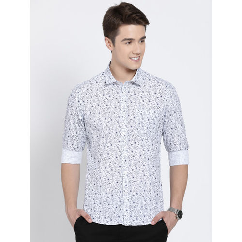 Crocodile Men White & Blue Slim Fit Printed Casual Shirt