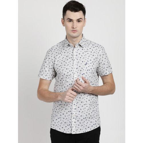 Crocodile Men White & Grey Slim Fit Printed Casual Shirt