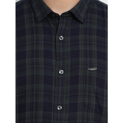 Crocodile Men Navy Blue & Olive Green Slim Fit Checked Casual Shirt