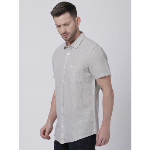 Crocodile Men Grey Slim Fit Striped Casual Shirt